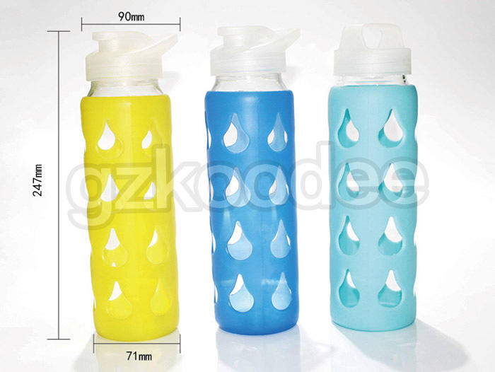 Koodee top brand best glass water bottle silicone sleeve for drinkware