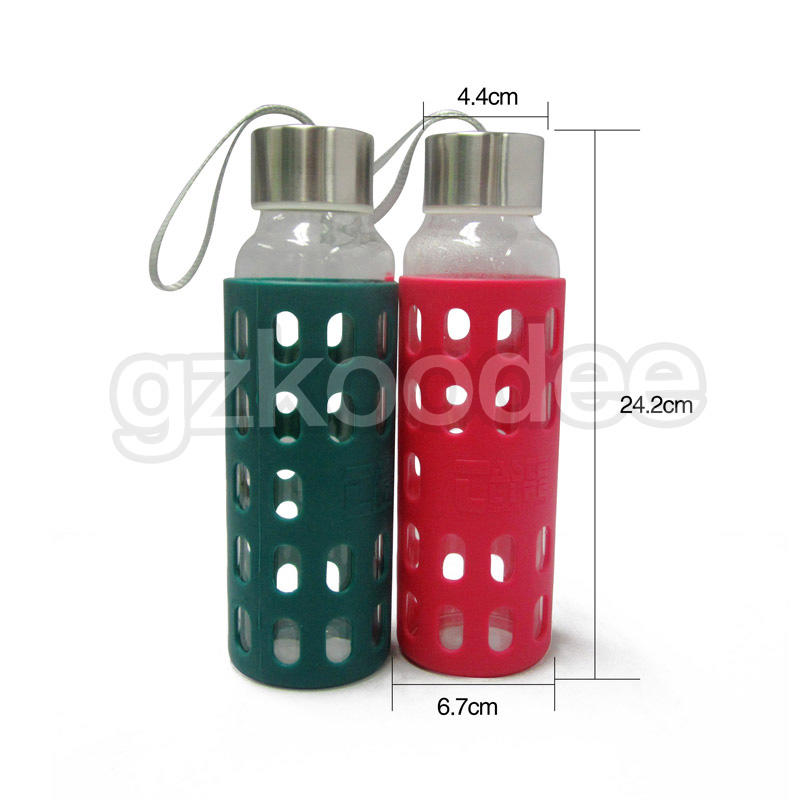 popular glass drinking bottles silicone sleeve for drinking