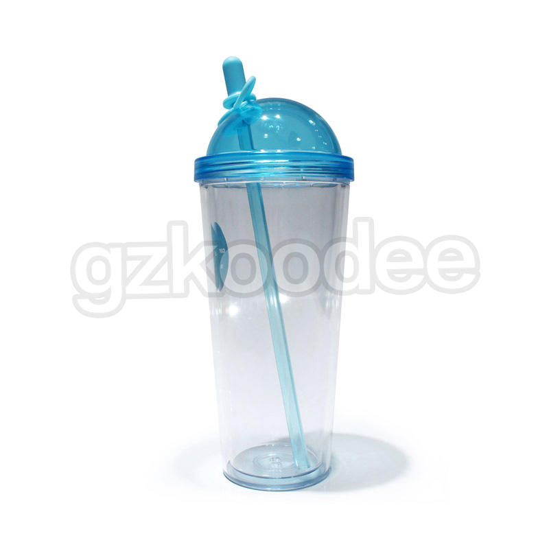 Custom Double Wall Plastic Straw Cup 320/420/520ml Koodee