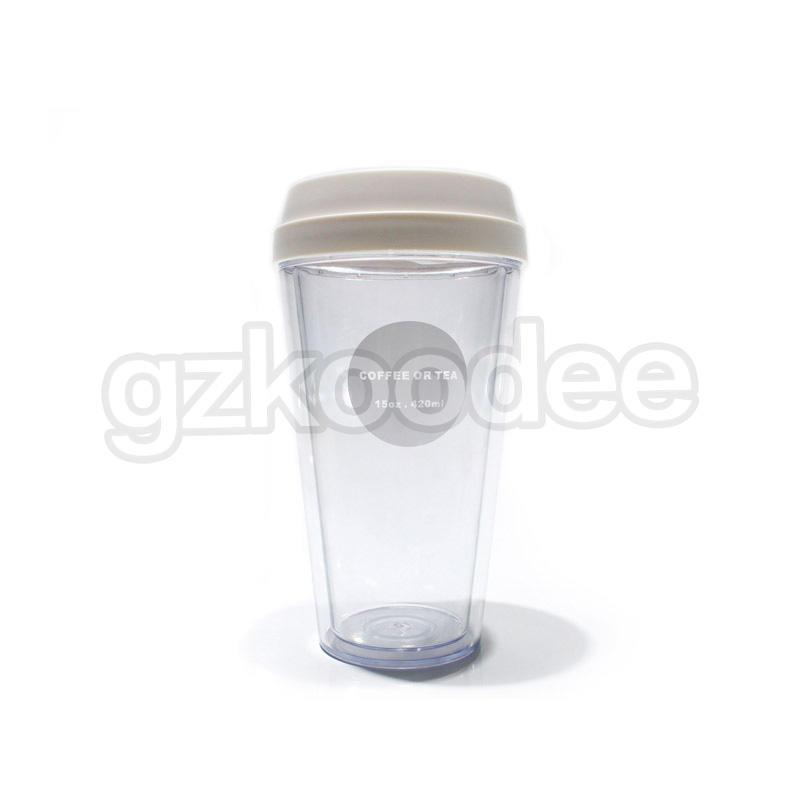 Custom Double Wall Plastic Coffee Cup 320/420/520ml Koodee