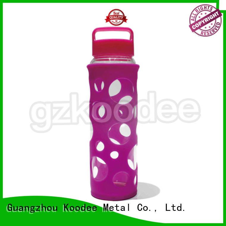 glass water bottle with lid food customized Koodee Brand glass water bottle
