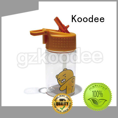 Koodee Brand design cartoon glass water bottle with lid