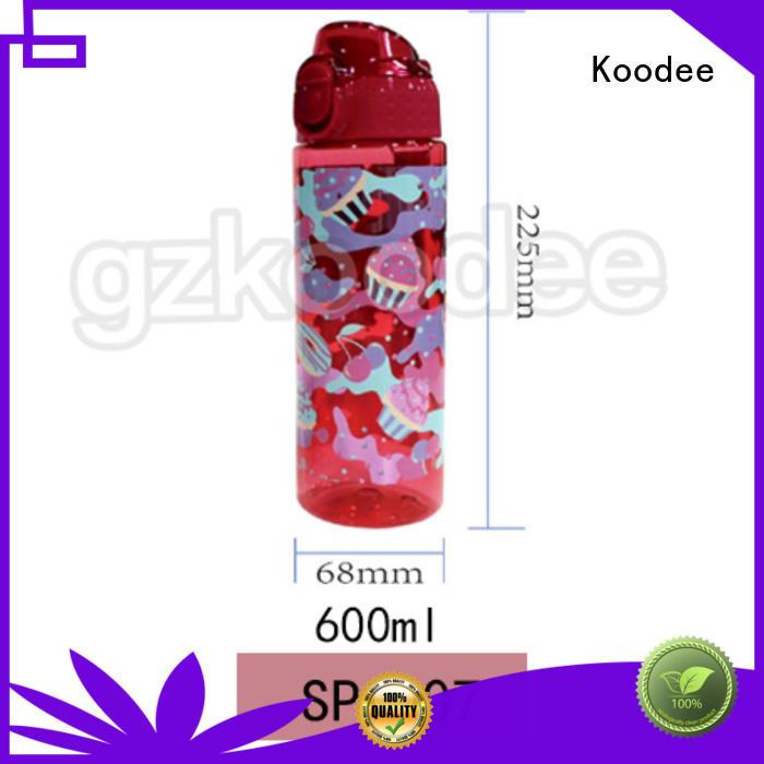Koodee printed plastic drinking bottles touching student