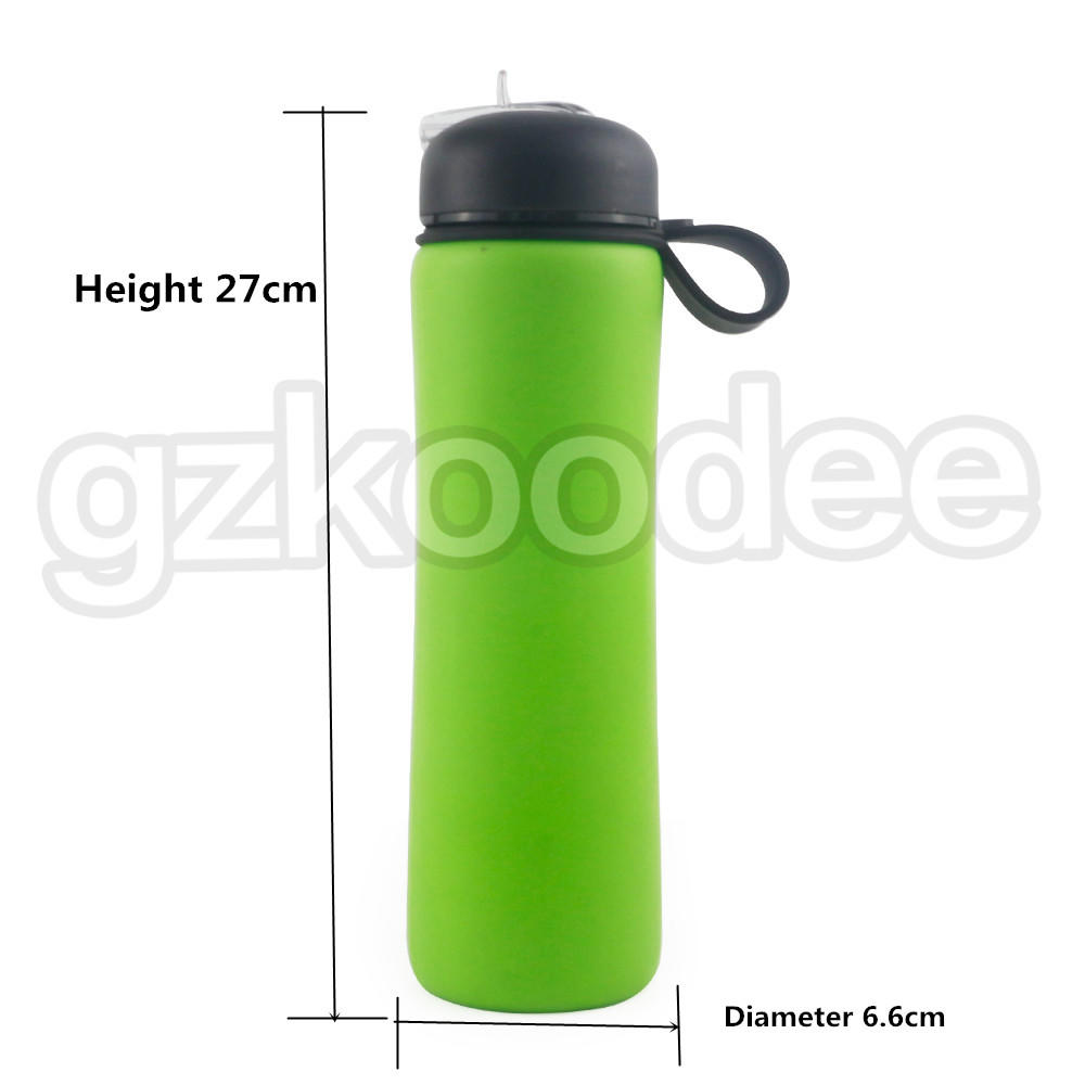 loop collapsible silicone water bottle with handle for wholesale