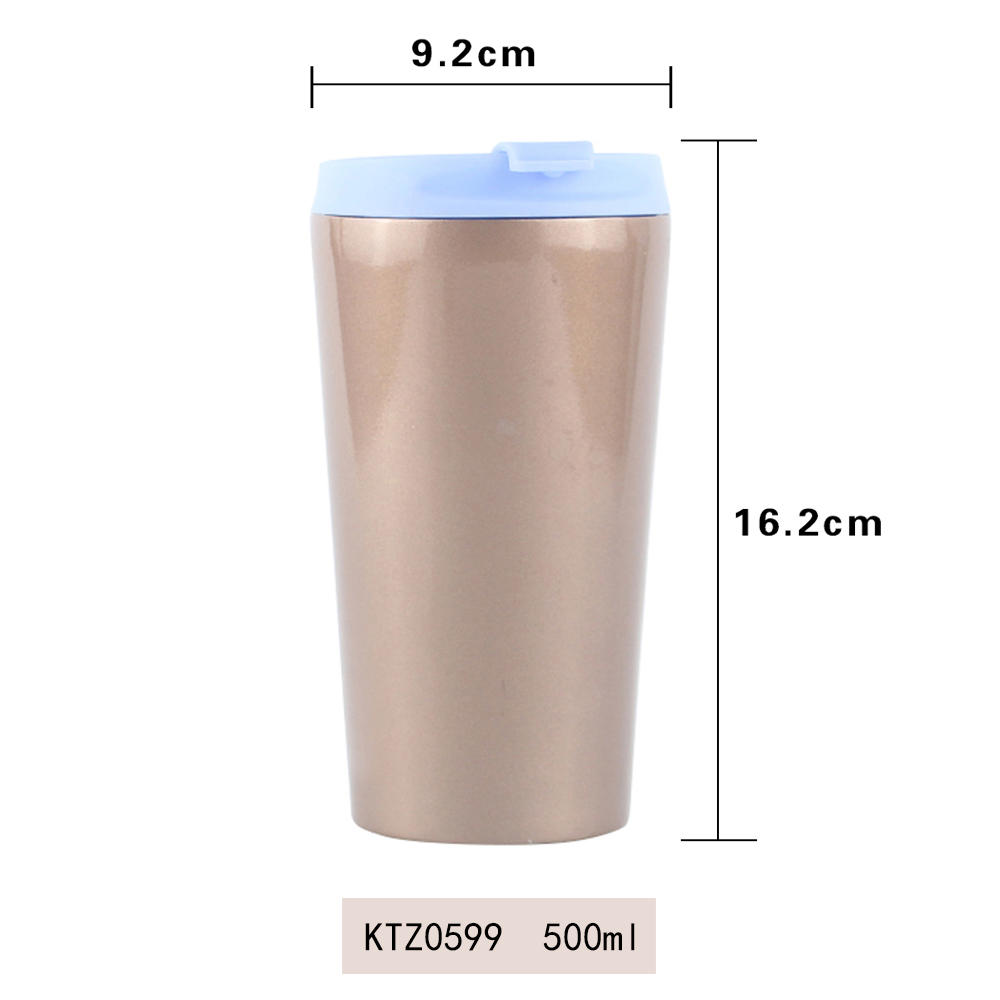 Customized food grade double wall stainless steel coffee mug 500ml Koodee