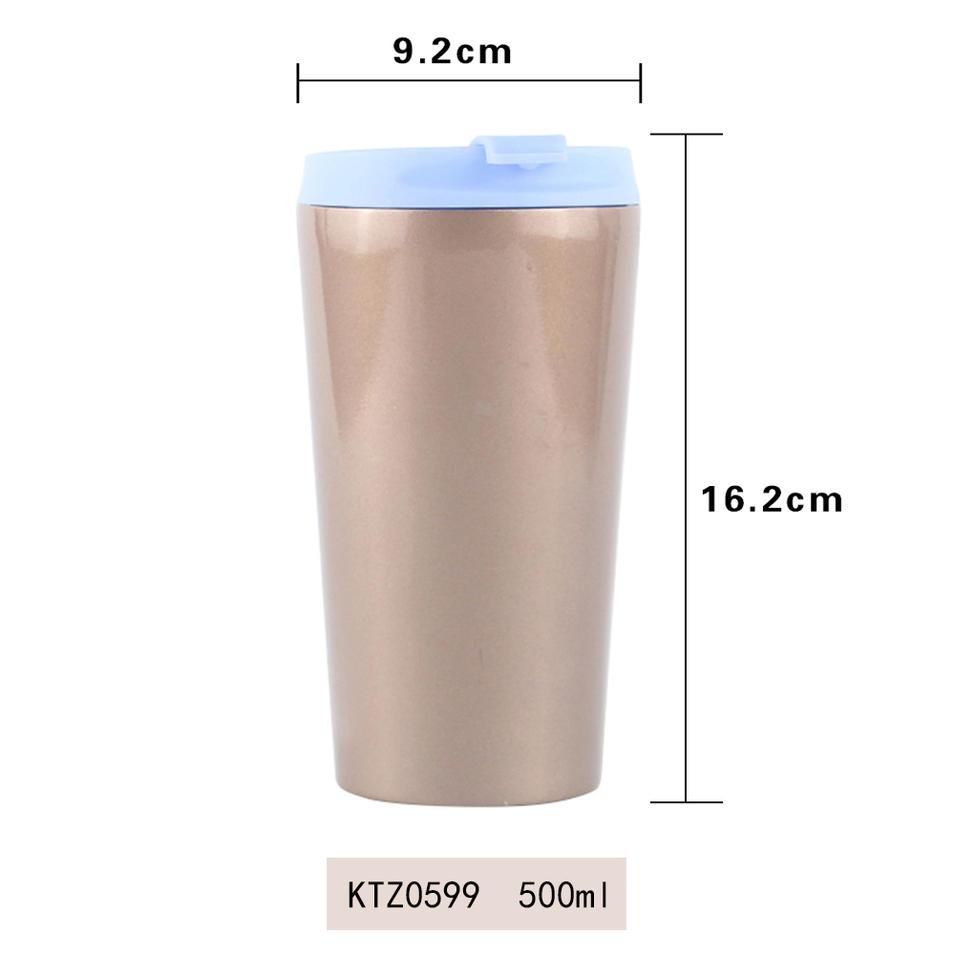 Customized food grade double wall stainless steel coffee mug 500ml Koodee