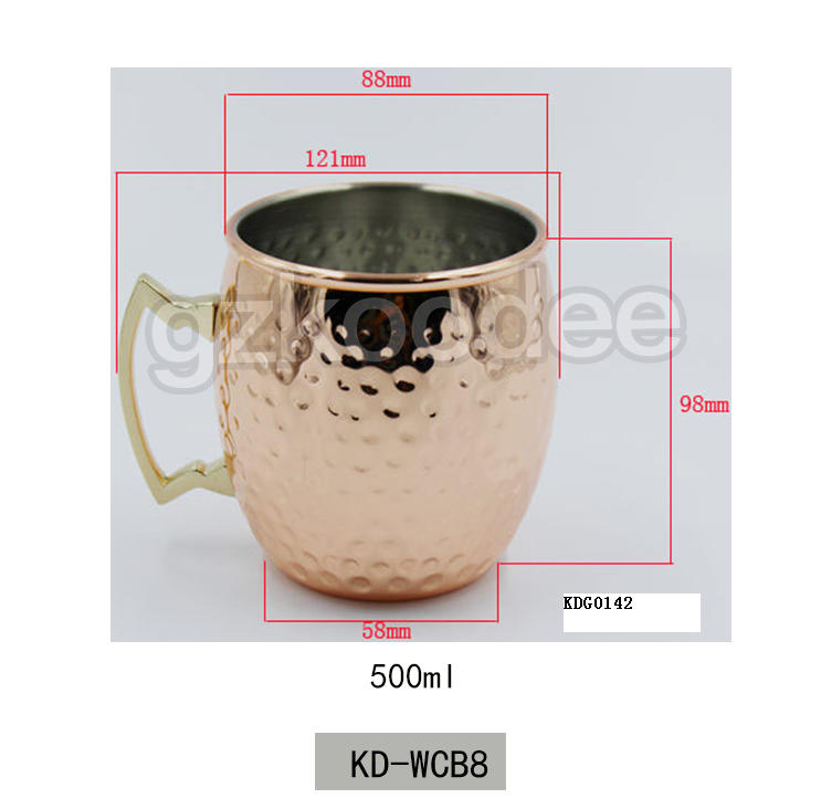 2019 new unbreakable stainless steel cooper plating wine mug for whiskey 500ml Koodee