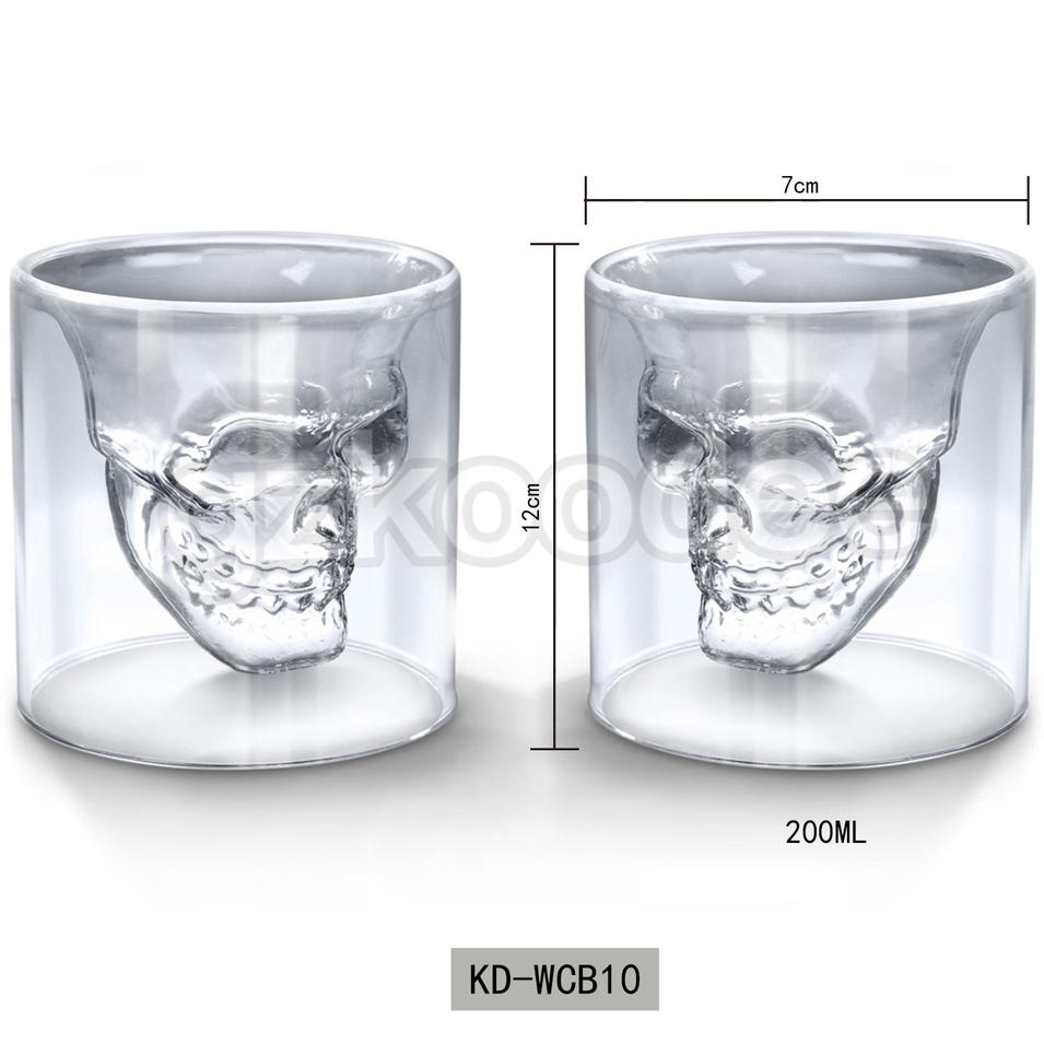 2019 new Fashion skull shape glass cup for wine 200ml Koodee