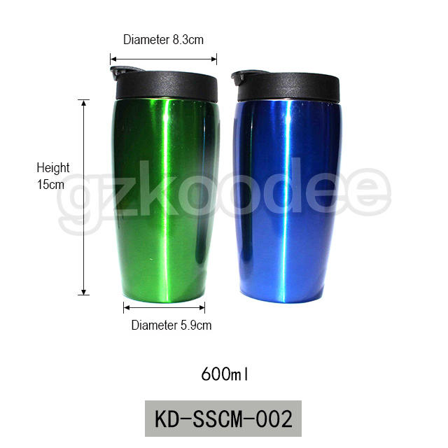 2019 custom color painting double wall vacuum insulated stainless steel coffee mug 600ml Koodee