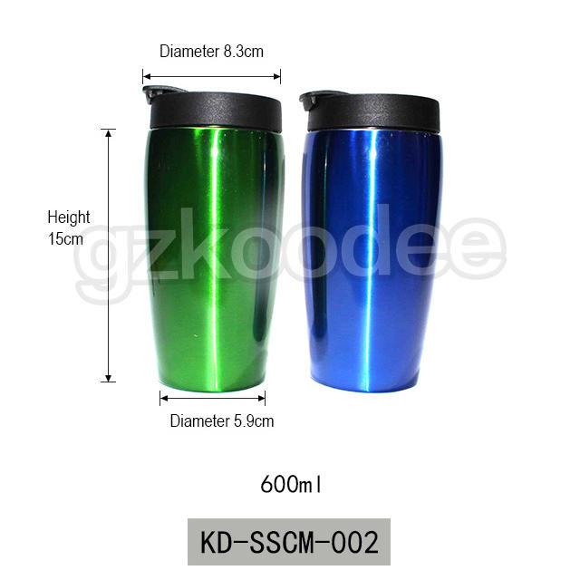 2019 custom color painting double wall vacuum insulated stainless steel coffee mug 600ml Koodee