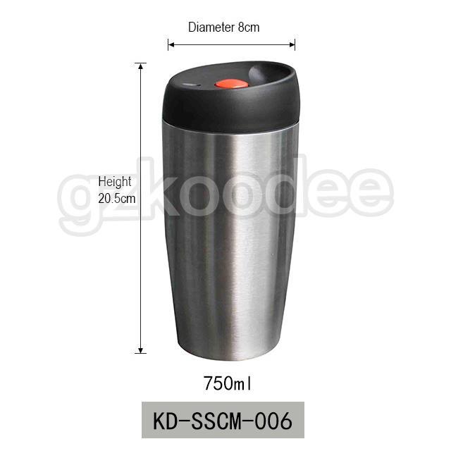 FDA free food grade double wall insulated stainless steel 18/8 car coffee mug travel 750ml Koodee