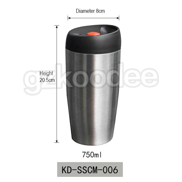 FDA free food grade double wall insulated stainless steel 18/8 car coffee mug travel 750ml Koodee