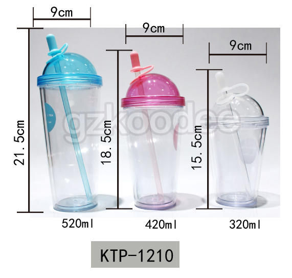 Custom Double Wall Plastic Straw Cup 320/420/520ml Koodee