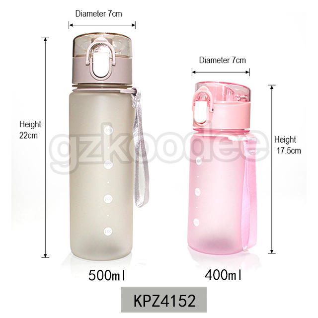 Soft touching Plastic Bottle with Pop up Lid and Carry Strap 400/500ml Koodee