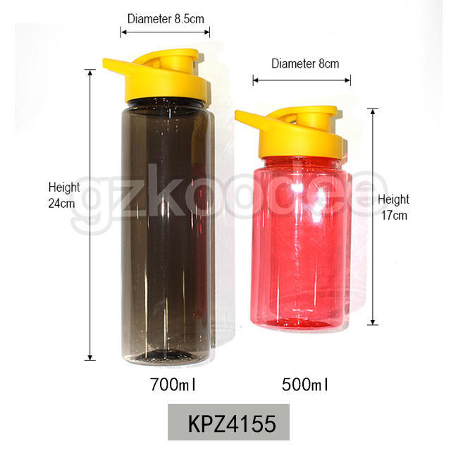 Casual Solid Color Flip Lid Water Bottle with Handle 500/700ml Koodee
