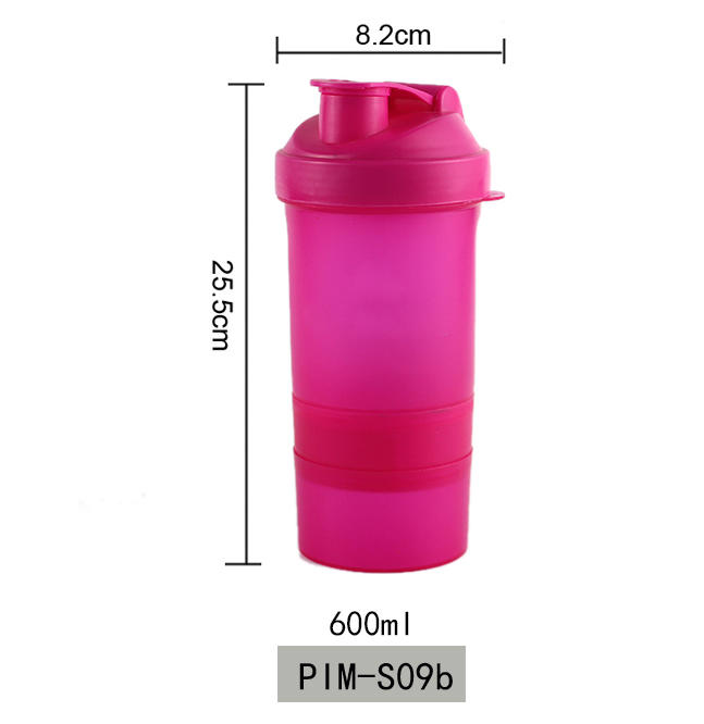 Custom Logo BPA Free Plastic Protein Shaker Bottle with mixing ball and Colorful Lid 600ml Koodee
