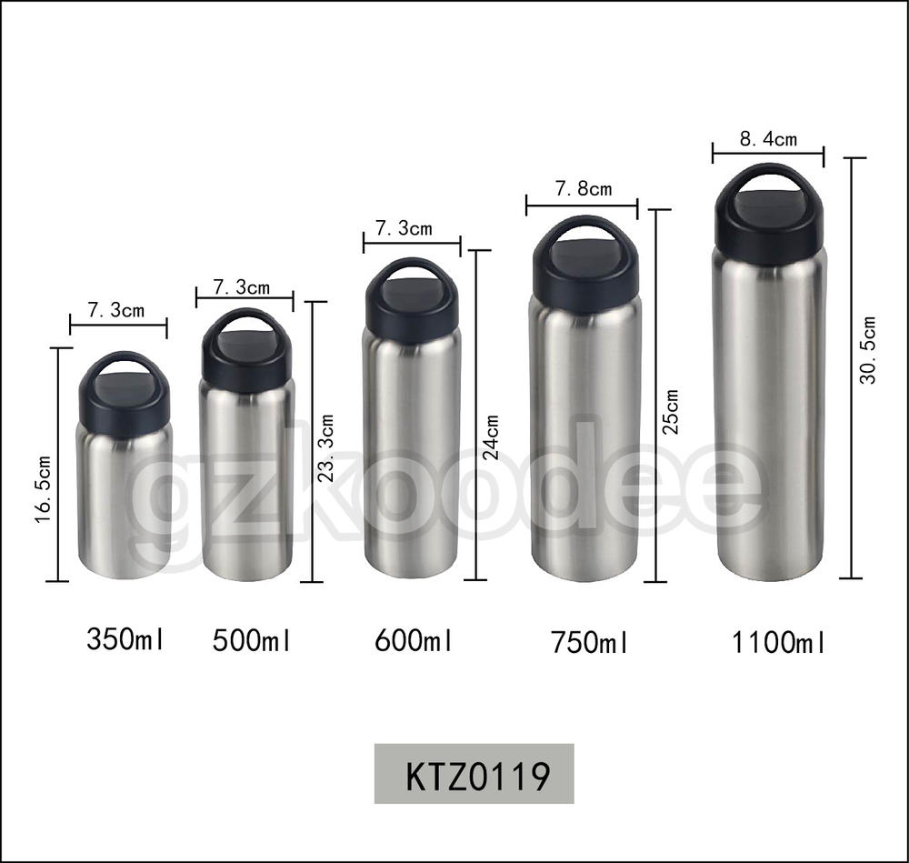 Vacuum Flask Straight Shape Cup With Handle 350-1100 ml Koodee