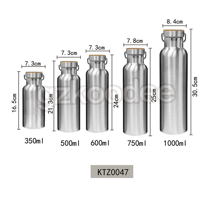 Wide Mouth Bottle Stainless Steel Double Wall Water Bottle 350-1000 ml Koodee