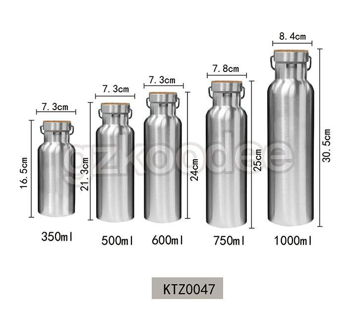 Wide Mouth Bottle Stainless Steel Double Wall Water Bottle 350-1000 ml Koodee