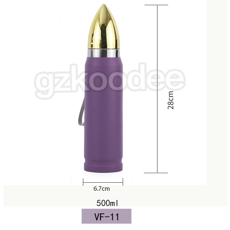 Bullet Shaped Bottle Double Wall Stainless Steel Vacuum Flask 500ml Koodee
