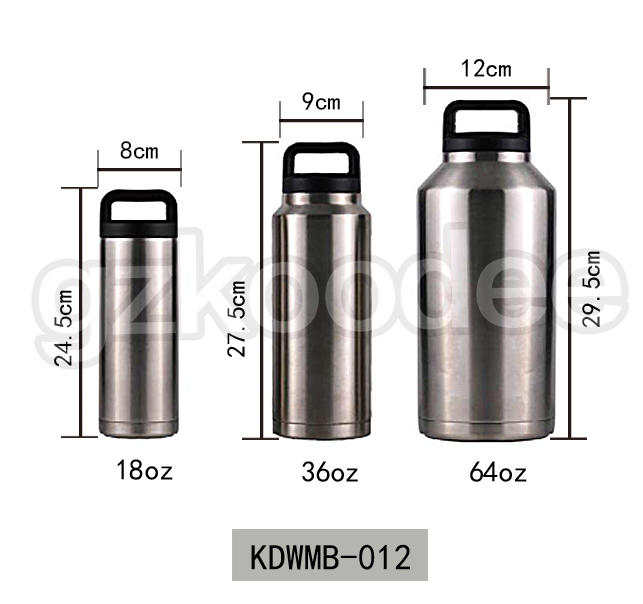 Double Wall Bottle Stainless Steel Vacuum Flask 18OZ/36OZ/64OZ Koodee