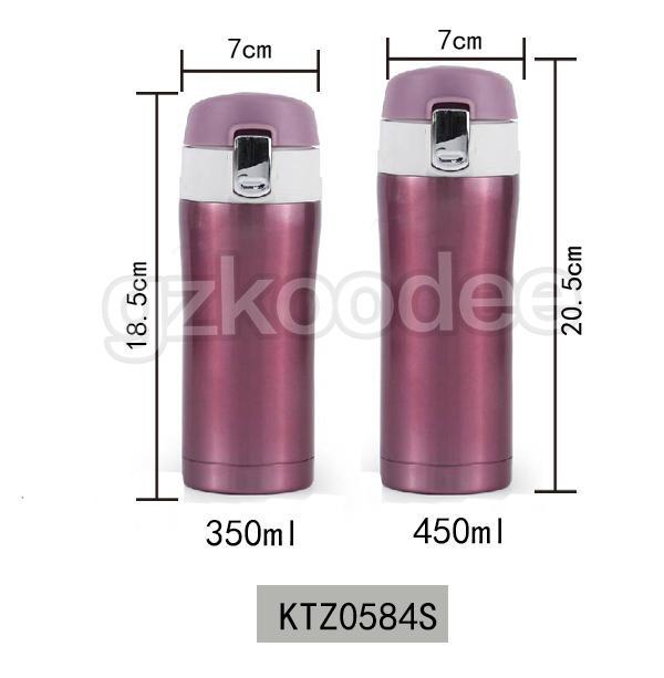 Flip Cap Thermos Double Wall Stainless Steel Water Bottle 350/450ml Koodee