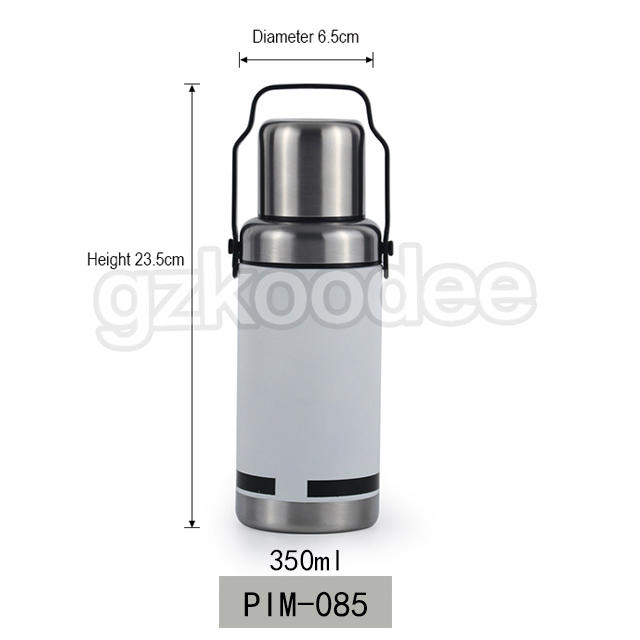 Thermos With Handle High Quality White Color Stainless Steel Vacuum Water Bottle 350ml Koodee