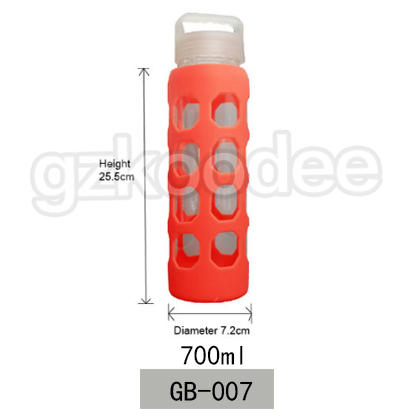 Custom Wholesale Glassware High Borosilicate Glass Water Bottle with Silicone Sleeve 700ml Koodee