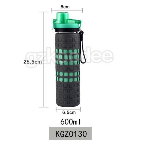 Newly special design borosilicate glass bottle with lock lid &silicone sleeve 600ml Koodee