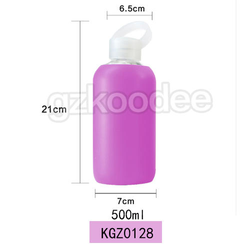 Small mouth high borosilicate glass bottle with silicone sleeve and handle lid 500ml Koodee