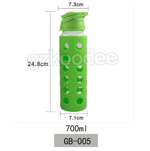 Borosilicate Glass Water Bottle With Silicone Sleeve 700ml Koodee