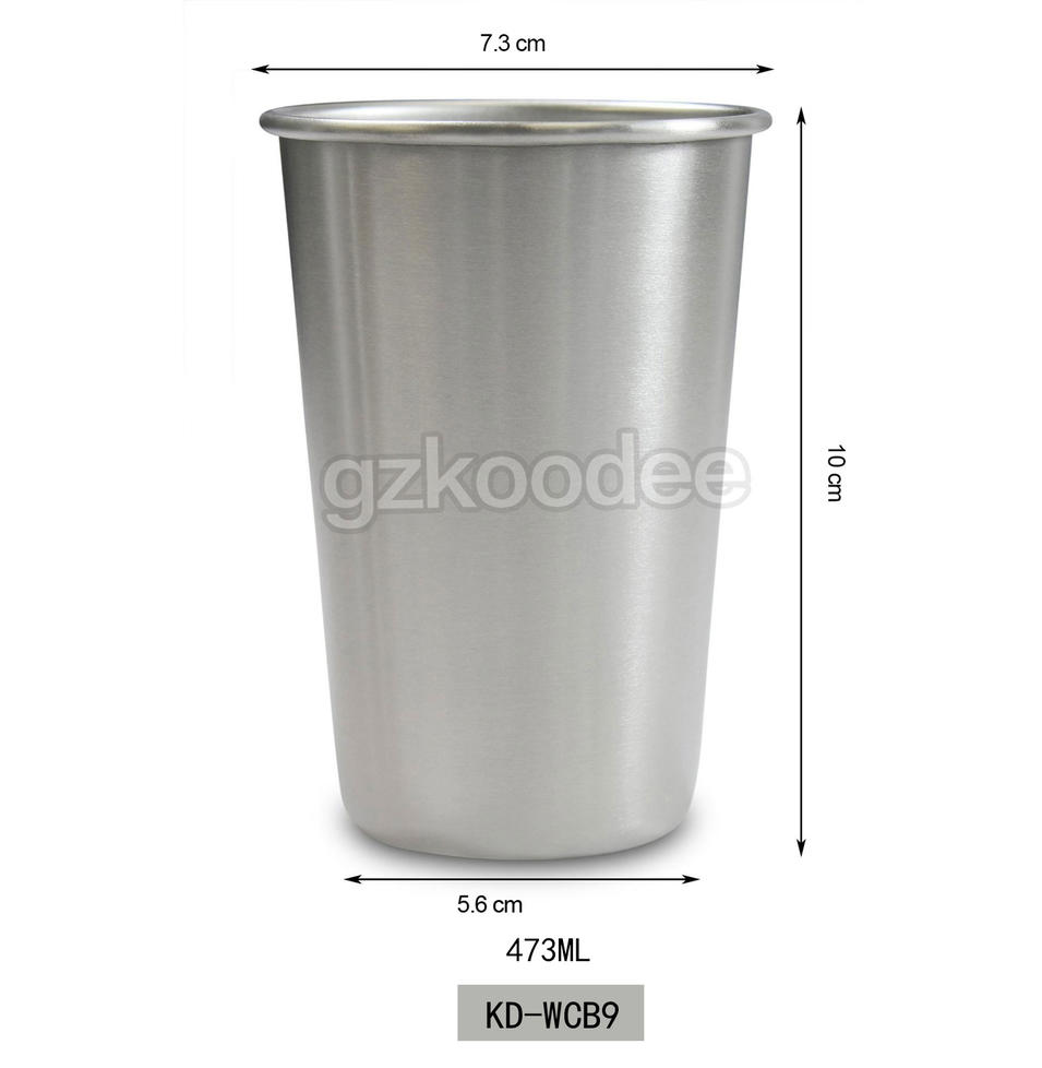 2019 new unbreakable stainless steel pint cups for bar 473ml Koodee