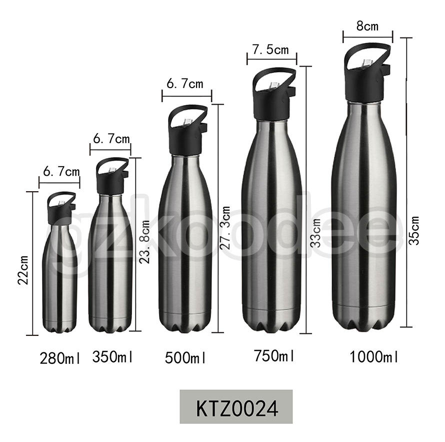 Cola Bottle With Nozzle Double Wall Stainless Steel Koodee