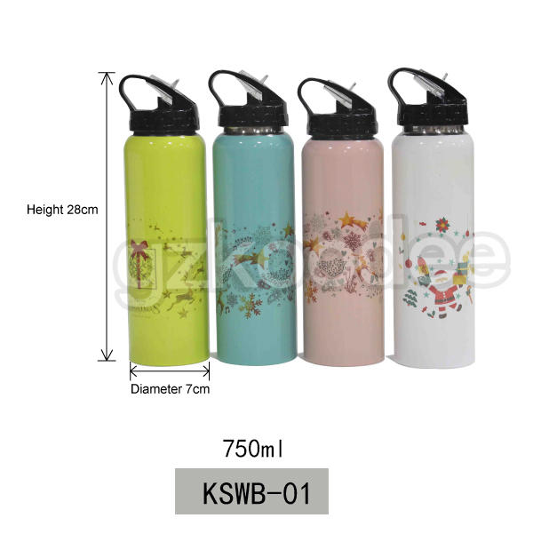 Koodee high quality Christmas theme custom printing straw type 750ml single wall stainless steel water bottle