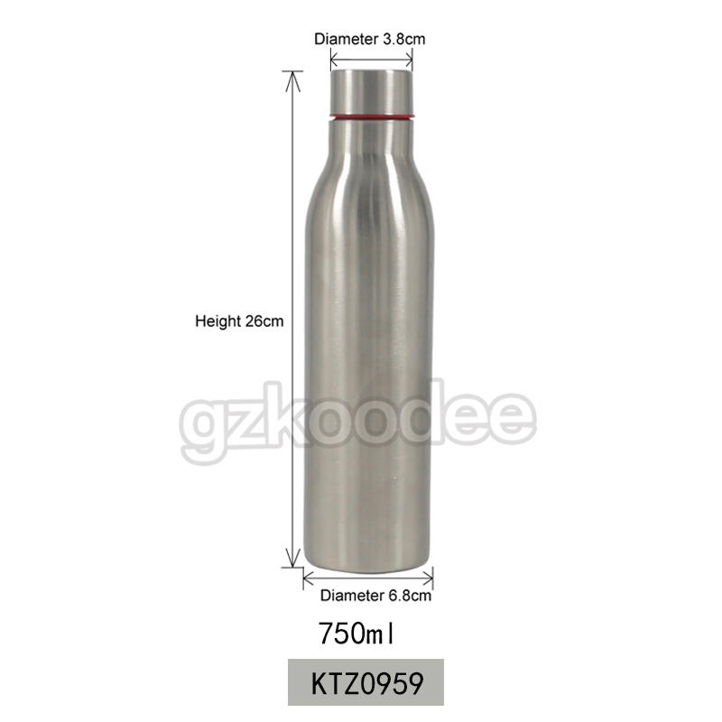 Koodee wholesale BPA free SS304 single wall stainless steel sport water bottle 750ml