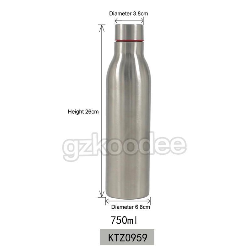 Koodee wholesale BPA free SS304 single wall stainless steel sport water bottle 750ml
