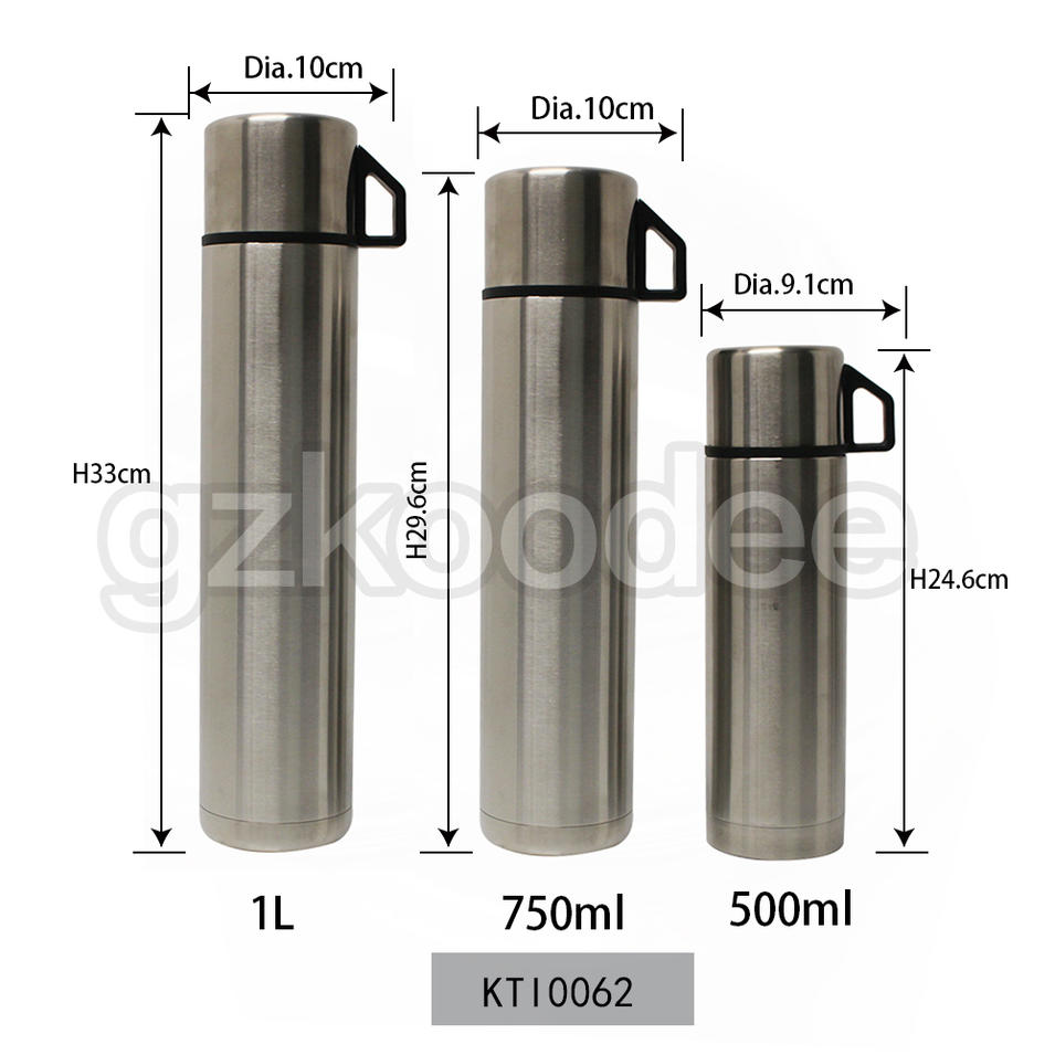 Travel Water Bottle 3 Capacity Thermal Insulated with Press Lid and Cover Cup Koodee