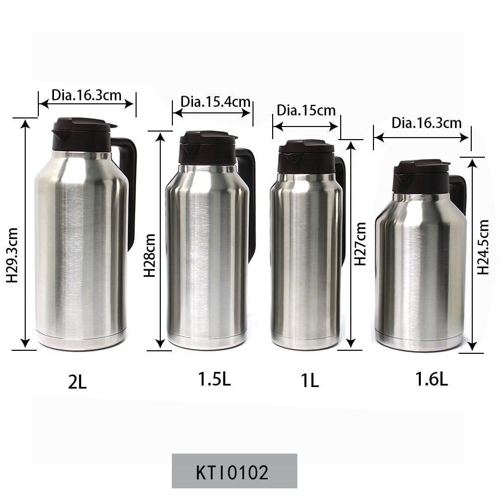 Big Kettle Vacuum Flask Thermal Insulated 1L/1.5L/1.6L/2L Big Size Bottle Koodee