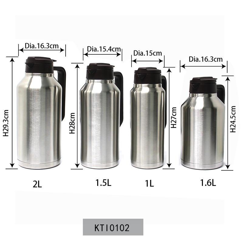 Big Kettle Vacuum Flask Thermal Insulated 1L/1.5L/1.6L/2L Big Size Bottle Koodee