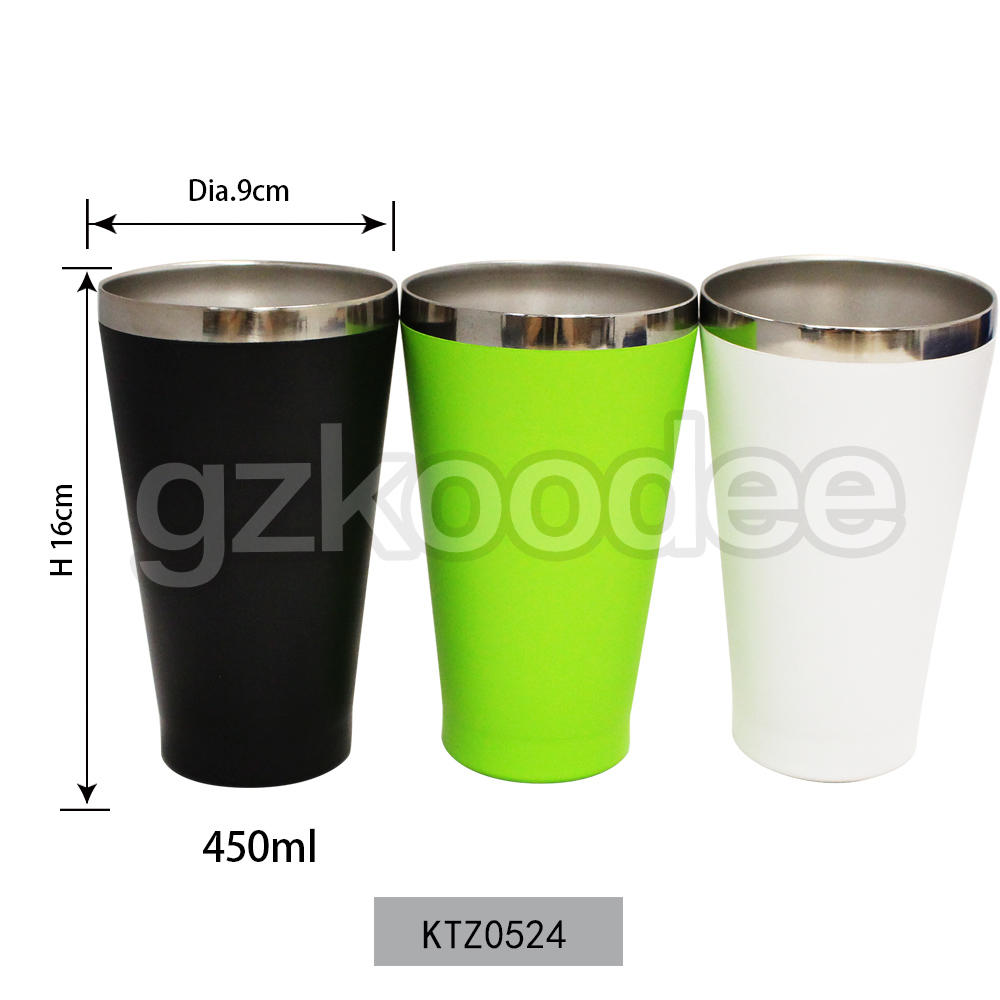 Big Mouth Stainless Steel Coffee Cup Water Tumbler 450ml Koodee