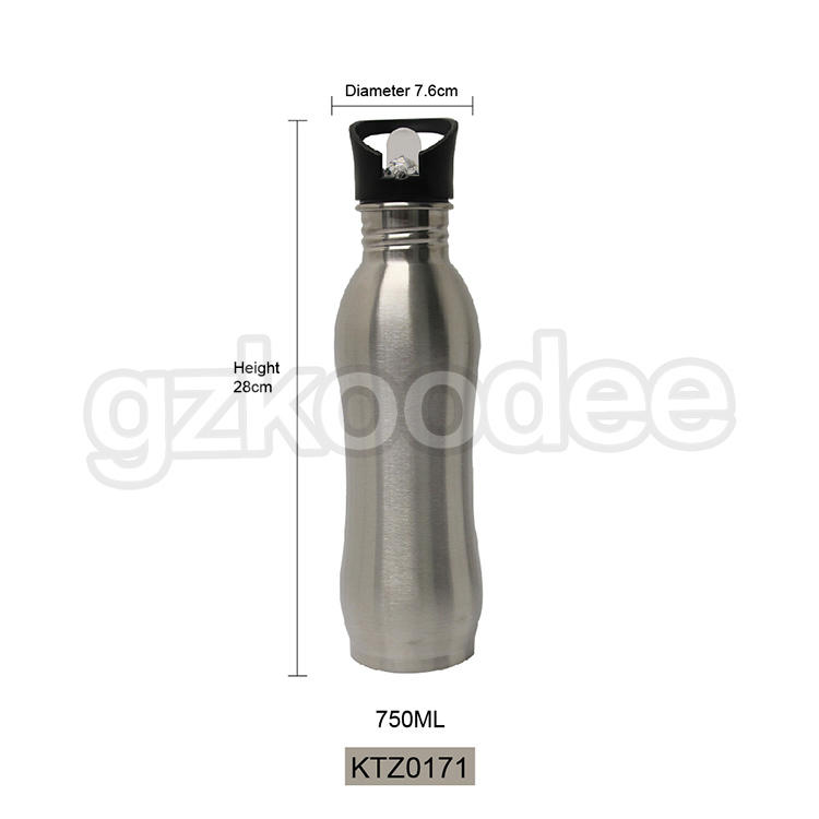 Customized Single Wall Stainless Steel Sport Bottle With Competitive Price From Koodee 750ml