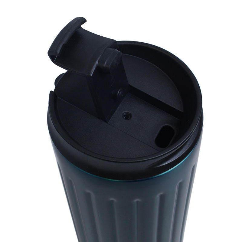 Functional coffee mug stainless steel, portable handle mug with straw, thermos mug three lids for option