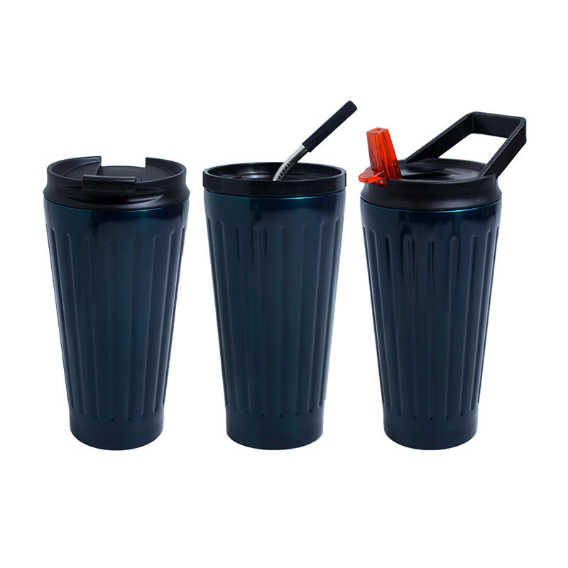 Functional coffee mug stainless steel, portable handle mug with straw, thermos mug three lids for option