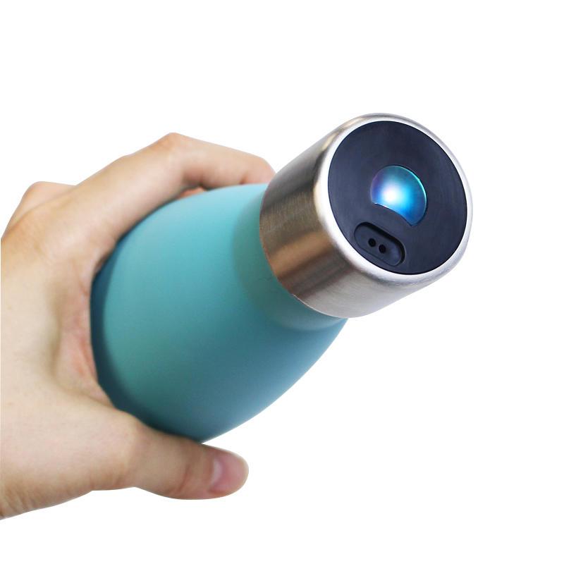 UV-C LED sterilization lid smart sport stainless steel water bottle