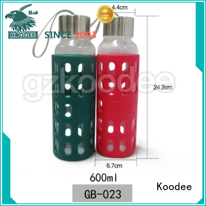 Borosilicate Glass Water Bottle With Silicone Sleeve Or Customized Logo 600ml Koodee
