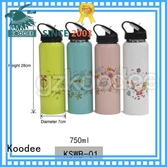 Koodee high quality Christmas theme custom printing straw type 750ml single wall stainless steel water bottle