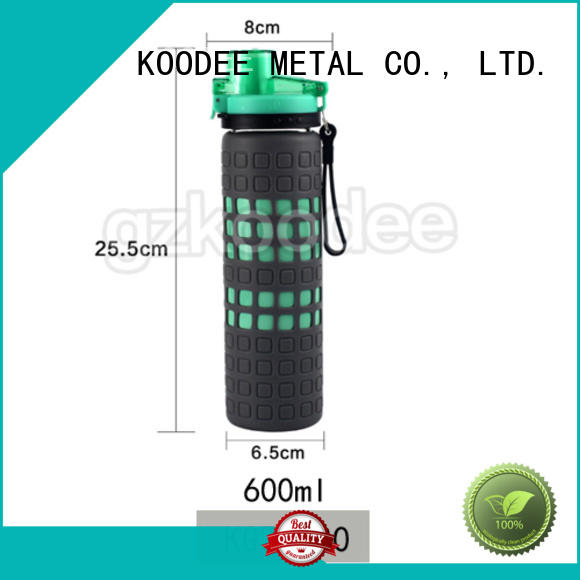 small-mouth best glass water bottle with silicone sleeve handle drinkware Koodee