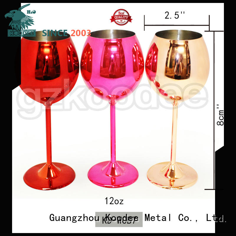 2019 new recycable stainless steel cooper coating wine glass goblet 12oz Koodee