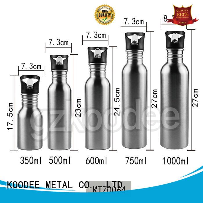 Koodee Customized single wall stainless steel portable water bottles 350ml/500ml/600ml/750ml/1000ml