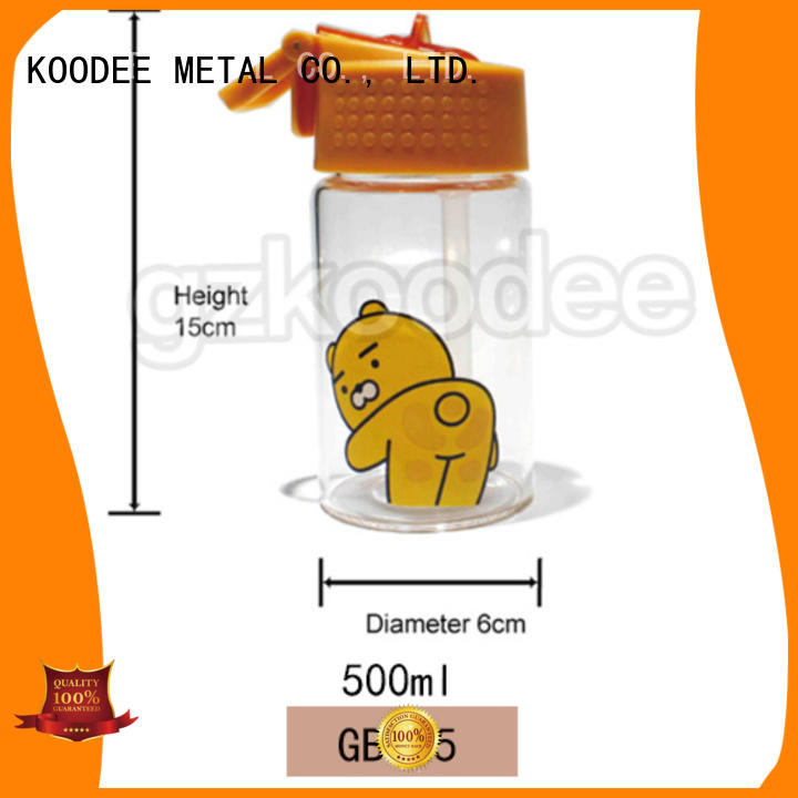 High quality wholesale FDA free cartoon design water glass bottle 500ml Koodee